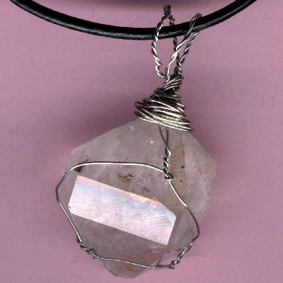 Large Wire Wrapped Herkimer Diamond Pendant - Handcrafted Jewelry