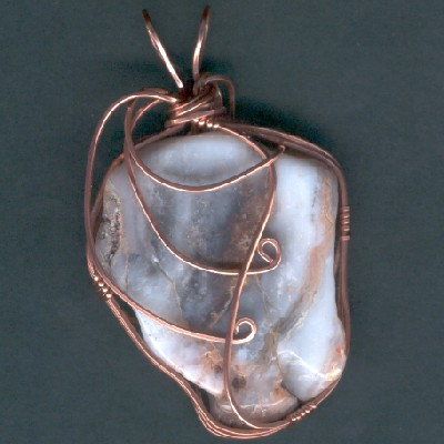 Wire Wrapped Chalcedony Pendant - Handcrafted Jewelry
